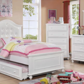 Blythe Twin Size Bed with Optional Trundle and Casepieces in White