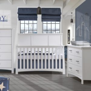 Bruges Collection - Converible Crib, 5 Drawer & Double Dresser in white featuring Matty in dusty grey