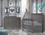 Bruges Collection - Convertible Crib, Double Dresser & Changing Tray in grigio