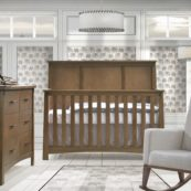Bruges Collection - Convertible Crib & Double Dresser in autumn with Nova rocker