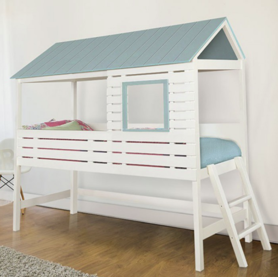Cabin Twin Size Bed in White and Light Blue