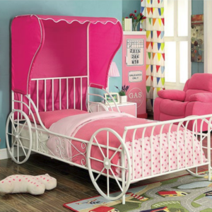 Charming Carriage Bed in White with Top Tent in Pink - Room