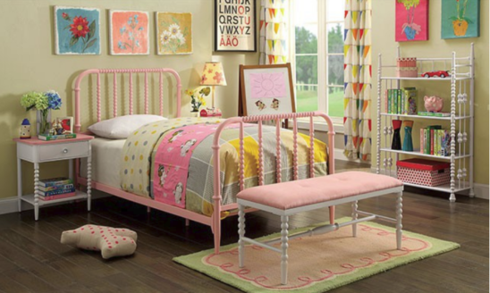 Colette Twin Size Metal Bed in Pink - Room Photo