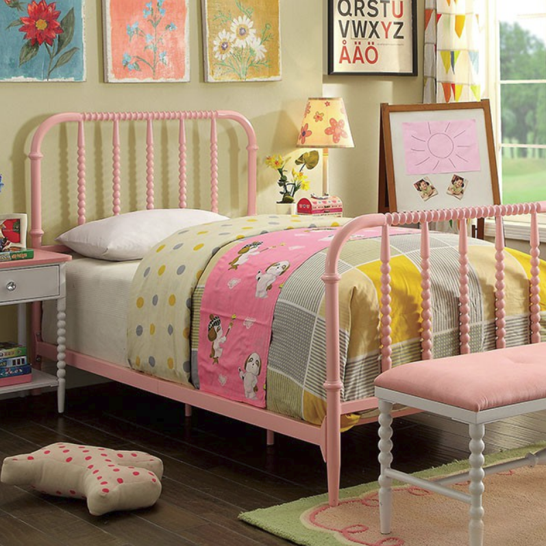 Colette Pink Metal Bed