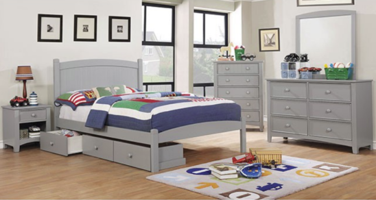 Contempo Twin Size Collection with Underbed Storage in Gray