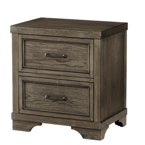 Country Hill 2 Drawer Nightstand in Brushed Pewter