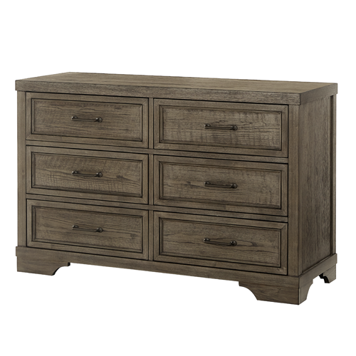 Country Hill Collection Double Dresser in Brushed Pewter