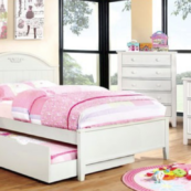Dina Twin Size Panel Bed with Optional Trundle and Case Pieces in White