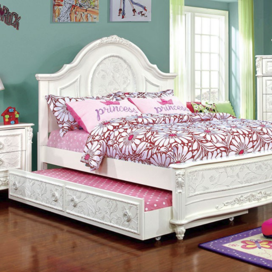 Hanrietta Bed with Low Footboard and Optional Trundle in Off-White