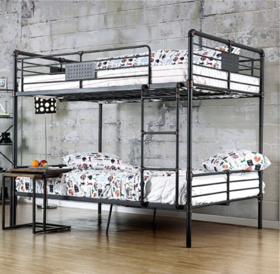 London Industrial Full over Full Bunk Bed in Antique Black