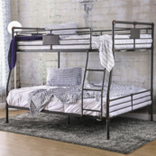 London Industrial Full over Queen Bunk Bed in Antique Black