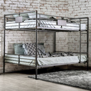 London Industrial Queen over Queen Bunk Bed in Antique Black