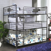 London Industrial Triple Bunk Bed in San Black and Light Copper