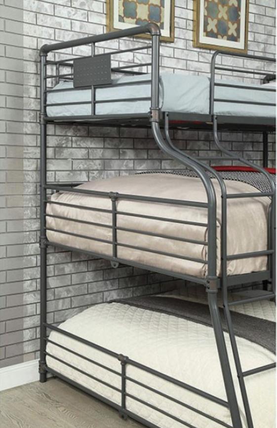 London Industrial Triple Bunk Bed In Sand Black