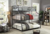 London Industrial Twin over Full over Queen Bunk Bed in Sand Black - Room Photo