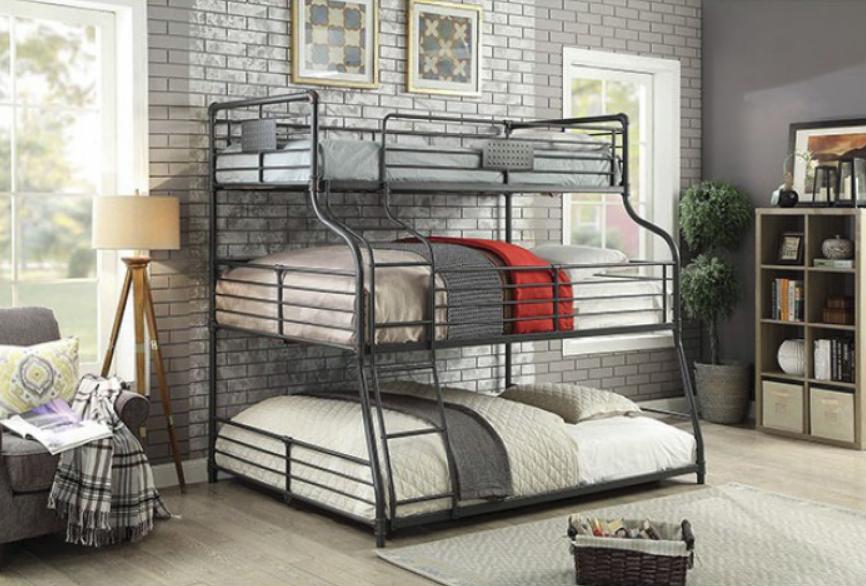 London Industrial Triple Bunk Bed In Sand Black Kids Furniture In Los Angeles
