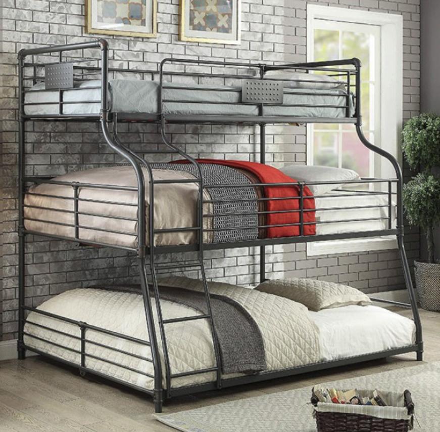London Industrial Triple Bunk Bed In Sand Black Kids