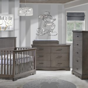Matisse Collection Convertible Crib, 5 Drawer, Double Dresser and Changing Tray in Grigio