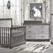 Matisse Collection - Convertible Crib, 5 Drawer & Double Dresser in grigio with white bark & Changing Tray in grigio