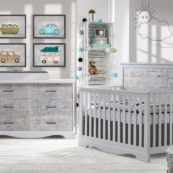 Matisse Collection - Convertible Crib & Double Dresser in white with white bark & Changing Tray in white