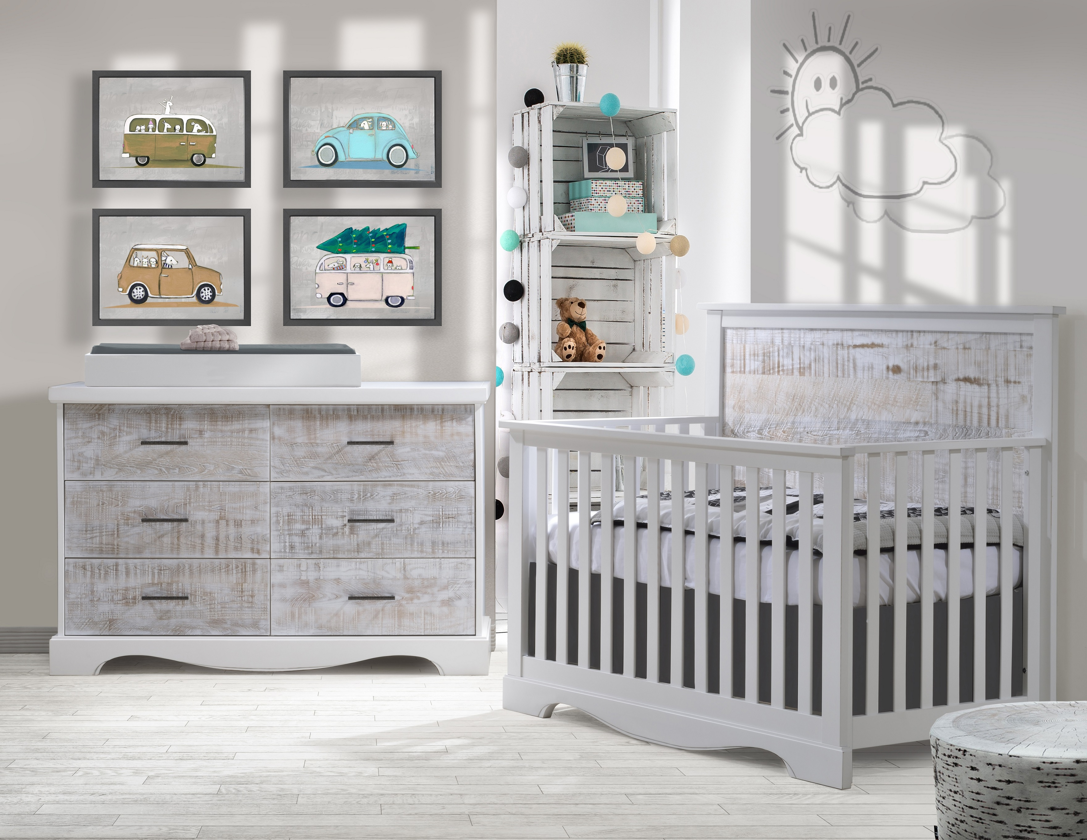 drawer set products double crib misty nursery with convertible ti amo dresser white carino grey drawers chest