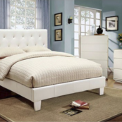 Nelli Full Size Contemporary Leatherette Bed in White - Room Photo