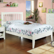 Pine Mission Style Twin Size Platform Bed in White