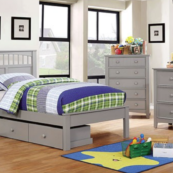 Russ Contemporary Twin Size Bed and Optional Drawers and Matching Case Pieces in Gray