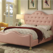 Sugar Leatherette Platform Bed with Nailhead Trim in Pink - Full Size