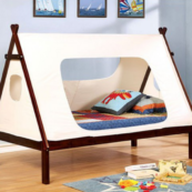 Teepee Twin Size Bed in White and Dark Walnut