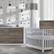 Vibe Collection - Convertible Crib & Double Dresser in white with brown bark & antique brass pulls, featuring Matty in dusty grey
