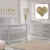 Vibe Collection - Convertible Crib & Double Dresser in white with white bark & antique brass pulls, featuring Matty in soft pink