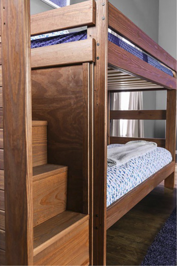 Vine Twin Over Twin Staircase Bunk Bed In Rustic Mahogany