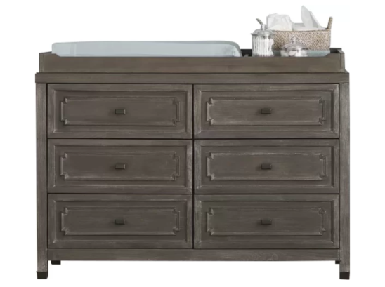 Beckett 6 Drawer Double Dresser with Changing Tray in Washed Grey