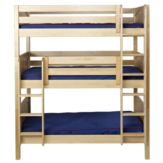 #HOLY Triple Bunk Bed with Straight Ladder Low Low in Natural