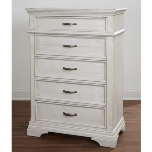 Kerri 5 Drawer Chest in Rustic White
