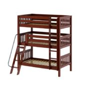 #MOLY Triple Bunk Bed with Angled Ladder in Chestnut