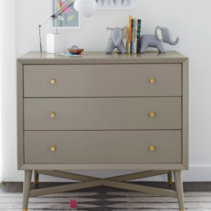 Mid-Century 3 Drawer Dresser in French Grey Front Photo