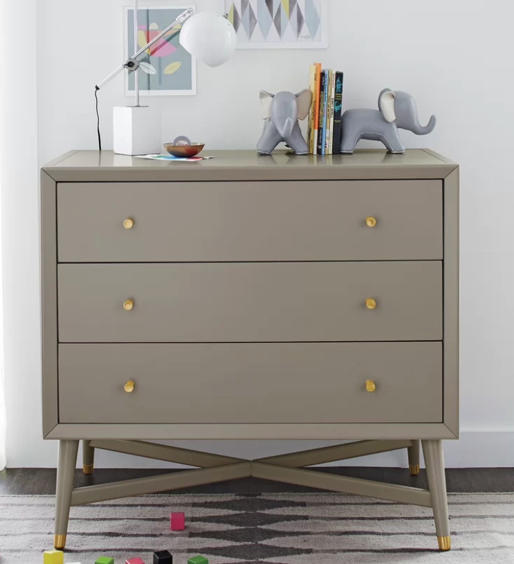Mid Century 3 Drawer Dresser In French Grey