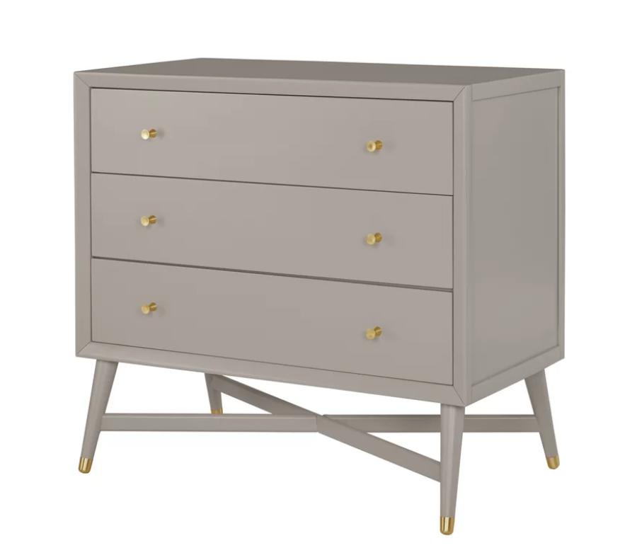 Mid Century 3 Drawer Dresser In French Grey