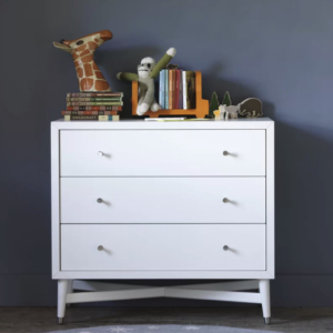 Mid-Century 3 Drawer French White Dresser