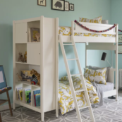 Mid-Century Youth White Library Bunk Bed in French White A