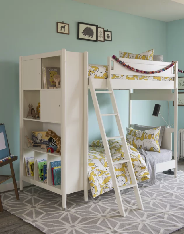 Mid Century Youth White Library Bunk Bed In French A