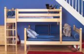 Parallel Bunk Bed with Straight Ladder in Natural