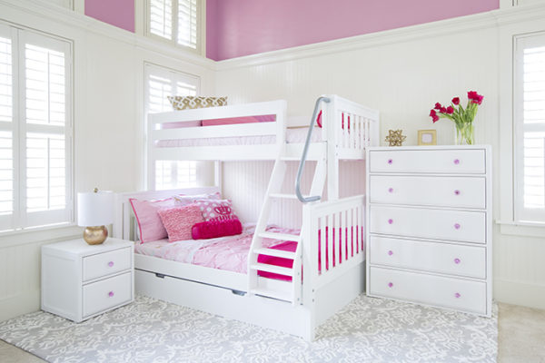 SLOPE Twin over Full Bunk Bed with Angeled Ladder in White with Slatted Headboard
