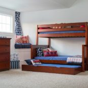 Twin over Full Medium Bunk Bed with Staircase in Chestnut