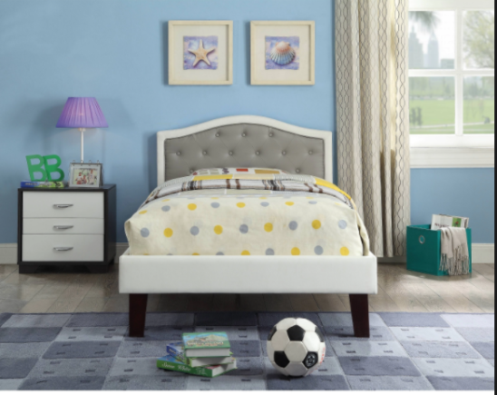 Rhea Twin Size Bed in White and Grey