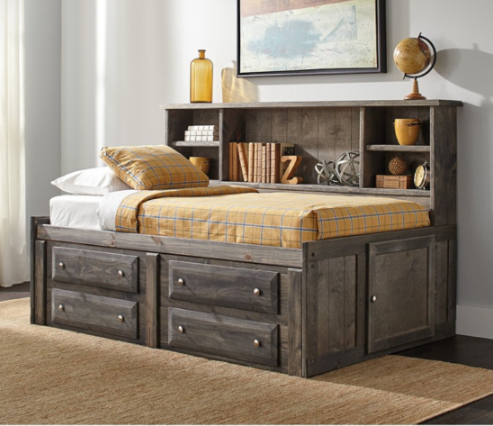 Hillside Twin Storage Daybed in Distressed Grey