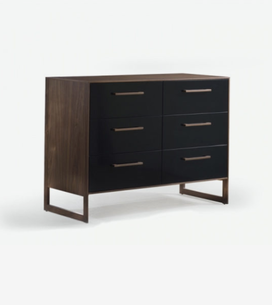 Rio Double Dresser in Walnut and Glossy Black