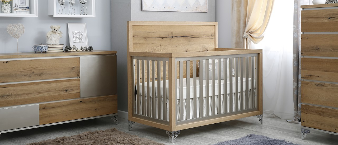Romina Pandora Convertible Crib 2 Tone, Romina Baby Furniture